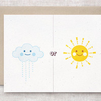 Anniversary Card - Rain or Shine Card, Clouds and Sunshine Friendship Card, Get Well Card, Eco Friendly