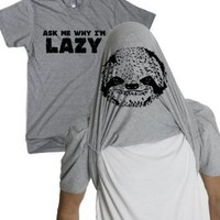 Amazon.com: Women&#x27;s Sloth Flipover T Shirt ask me why I&#x27;m Lazy funny sloth tee for girls: Clothing