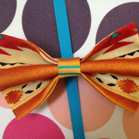 Navajo Tan & Teal Hair Bow  by PocketTeesandThings on Etsy