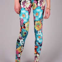 Electric Daisy Leggings | Floral Leggings at Pink Ice