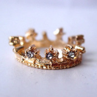 Diamond Gold Crown Ring