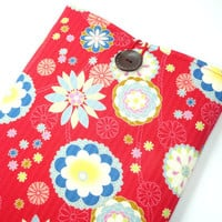 Macbook Air 11 inch Sleeve, Kimono Macbook Air Cover Japanese Kimono Cotton Fabric chrysanthemum Red