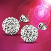 Nice Sparking Rhinestone Ball Earrings
