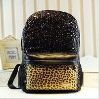 Cool Shiny Sparking Leopard Backpack Bag
