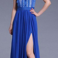 Fabulous Sleek Lace Trim Royal Blue Sleeveless Chiffon Gown