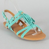 Qupid Lana-289 Tassel Braided Slingback Flat Sandal