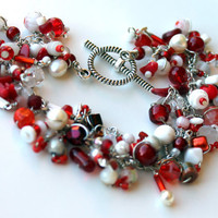 valentine beaded charm bracelet beaded fringe by UniqueNecks