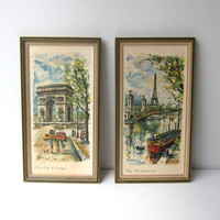 Vintage Retro 1960s Arno Paris L'arc de Triomphe Eiffel Tower framed watercolor Paris prints