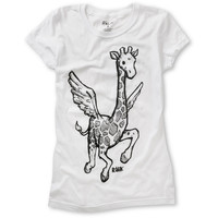 Ralik Girls Flying Giraffe White UV Color Change Tee Shirt