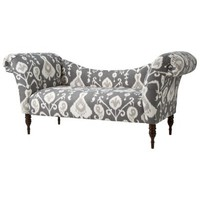 Upholstered Chaise Settee - Ikat Gray White