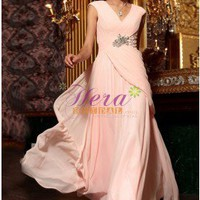 Ruffles Dual Straps V-Neckline Floor Length Embroidery Pink Evening Dress 2013