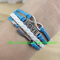 Silver arrow - friendship LOVE bracelet - personality infinity bracelet - dark blue leather cord - girlfriend and BFF