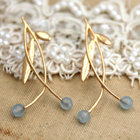 Gold blue aquamarine leaf classic gemstone earrings - 14k gold filled with gemstones
