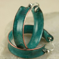Studio Made Hoop Earrings Deep Teal Green Copper Enamel | TekaandZoe - Jewelry on ArtFire