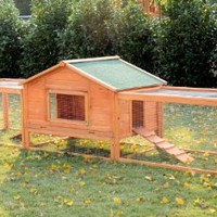 "Pawhut 122"" Deluxe Wooden Rabbit Hutch / Chicken Coop w/ Double Outdoor Runs"