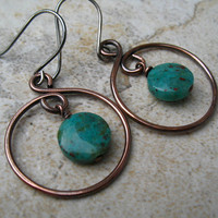 Hoop Earrings in Copper Mixed Metal Earrings
