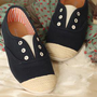 Cute navy shoelace less loafer flats shoe coco