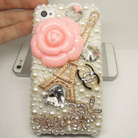 CLEAROUT PRICE Eiffel Tower Charm & Camellia Flowers Bling Rhinestone Phone Cover Case for iPhone 4g, 4s