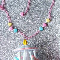 Sweet Carousel Necklace with Free Pastel Hearts Bracelet