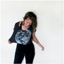 Womens crop top - one size fits all - full moon screenprint on heather black American Apparel loose crop tees - My Moon, My Man