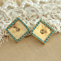 Turquoise Gold crystal studs geometric,bridesmaids earrings,bridal earrings- 14k gold plated earrings