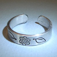 Sterling Silver Toe or Adjustable Finger Ring with Blooming Botanical Theme