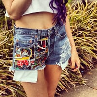 Star Wars High Waisted Denim Shorts by UrbanEclectics on Etsy