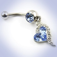 316L Surgical Steel Blue Rhinestones Heart Dangle Surgical Steel Belly Navel Bar Ring Body Jewelry