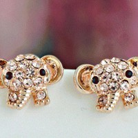 Cute Elephant Rhinestone Fashion Earrings  from LilyFair Jewelry