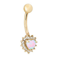 Opal Heart with Cubic Zirconia Outline 14K Yellow Gold Belly Button Ring
