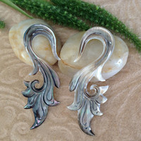 "2 Gauge (6mm) Earrings, ""Natural Beauty"" Black Mother of Pearl, Hand Carved, Naturally Organic, Tribal"