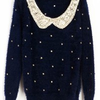 Navy Vintage Polka Dot Sequins Sweater:Buy at Sheinside