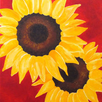 Home and Office Art, 2 SUNFLOWERS on RED, 16x20 bright contemporary wall art decor
