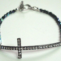 Cross Sideways Beadbar Jet Black Fire Polish Crystal Bracelet