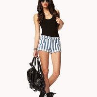 Striped Denim Shorts | FOREVER 21 - 2035544281