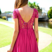 Pink Crochet Overlay Pleated Dress with V-Back&amp;Cap Sleeves
