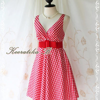 Princess Lulla Summer Dress - Sweet Cutie Spring Summer Dress Checkered Sundress Princess Lulla Collection Bright Red Color Party Dress