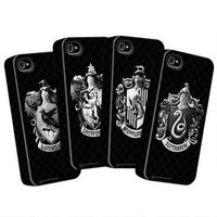 Harry Potter Black &amp; White Four House iPhone Case Set |