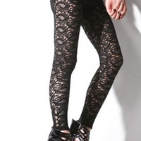 Women's Lace Button Leggings (Black) | Costume Dept | 80's Purple