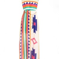 Multi-Color Belted Aztec Maxi Dress