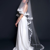 Alençon Lace Bridal Veil Long