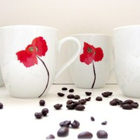 Red Poppy Porcelain Coffee Mugs Set of 4 by SwirlyGarden on Etsy