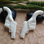 SALE: Fake Gauge Earrings, &quot;Semi-Auto&quot; Naturally Organic, Bone, Hand Carved, Tribal