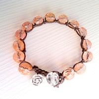 Czech glass beads rose bracelet rose bracelet by theflowerdesign