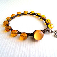 wrap bracelet Czech glass beads mustard by theflowerdesign on Etsy