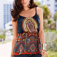 Medallion print babydoll top  from VENUS