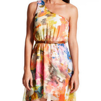 Charlotte Russe - Belted Watercolor Chiffon Dress
