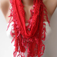 Mother's Day - Red Laced Scarf with Trim Edge -Speacial Laced Fabric - Summer Collection -