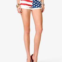 American Flag Print Denim Shorts