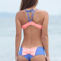 The Girl and The Water - LOLLI SWIM BOW BOTTOM CORAL BLUE
